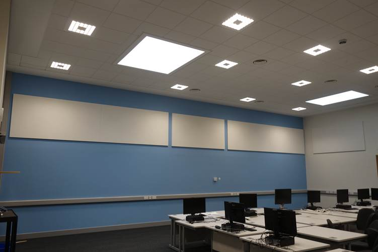 Soundproofing panels in an educational centre.