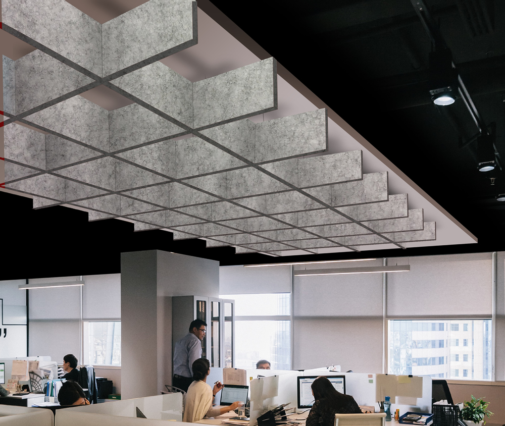Grid pattern suspended ceiling acoustic panels.