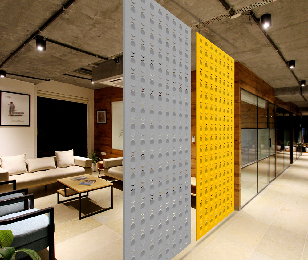 Suspended acoustic panels.