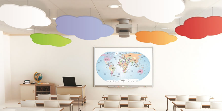 Cloudsorba Soundproofing Acoustic Suspended Ceiling Panels - Classroom