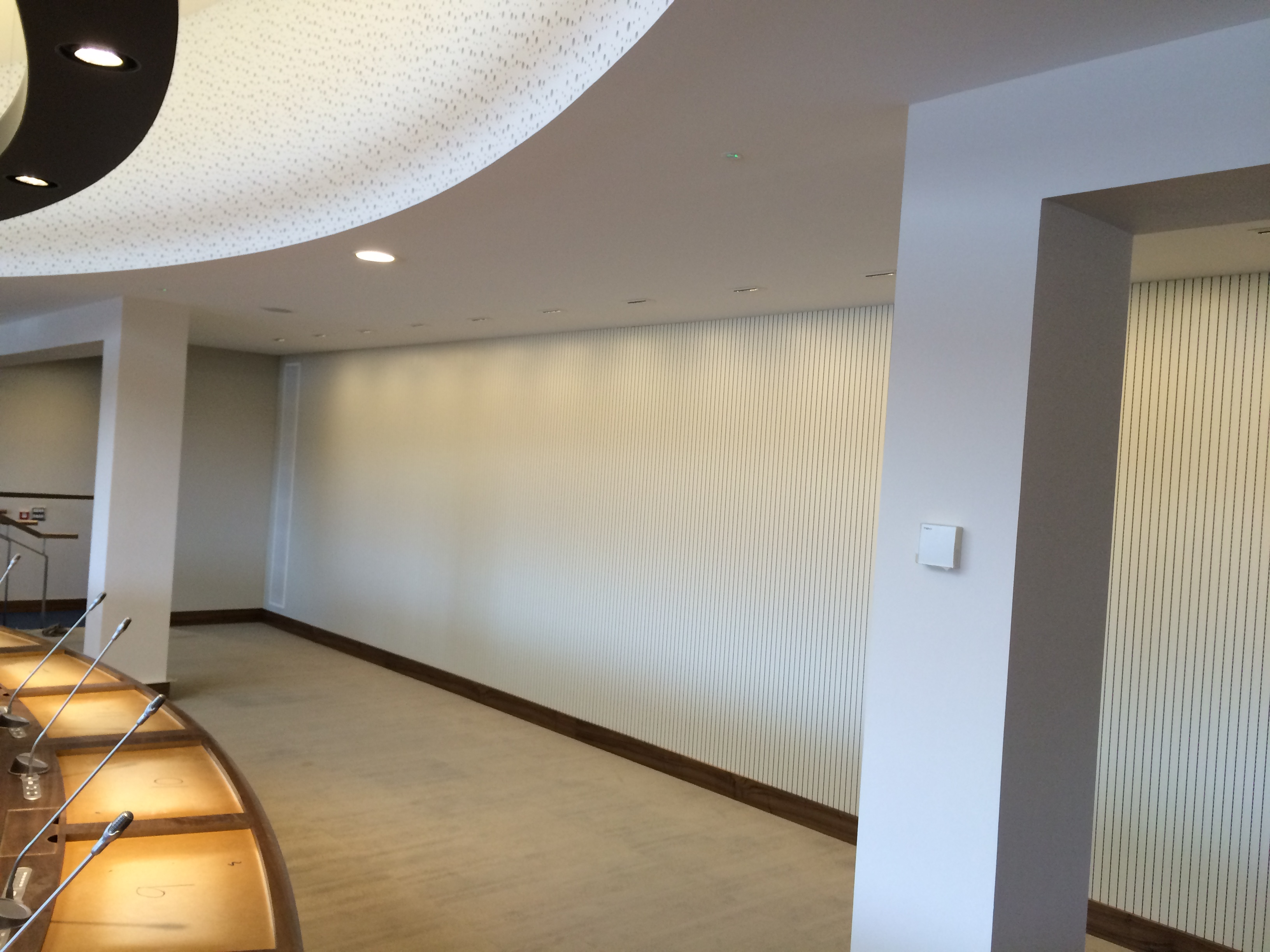 Council Chambers, Armagh City Banbridge Craigavon Council - Council Chambers - Topakustik Soundproofing Wood Acoustic Panels - Wall Panelling
